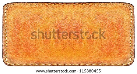 Business wide and long texture of leather yellow and blank brown label close up view isolated over white background, perspective and successful concept of promotion products and items - stock photo