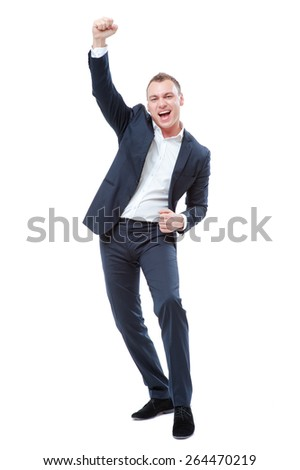 Business winner. Full length of happy young man in forma lwear celebrating, gesturing, keeping arms raised and expressing positivity. Isolated on white. - stock photo