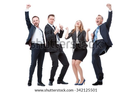 Business winners. Full length of group of happy young people in formal wear celebrating, gesturing, keeping arms raised and expressing positivity. Isolated on white. - stock photo