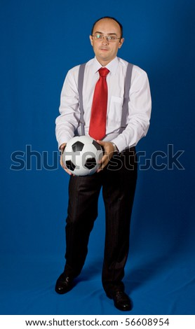 Business with soccer ball (football). Isolated. - stock photo