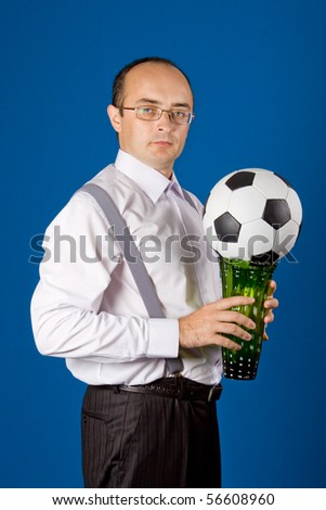 Business with soccer ball (football). Isolated.