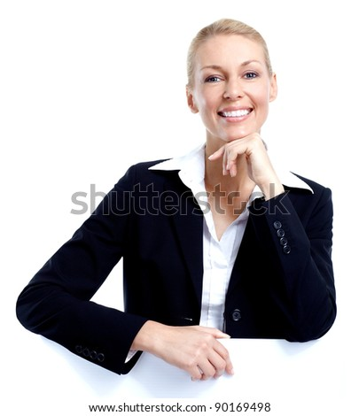 Business woman accountant. Isolated on white backgorund. - stock photo