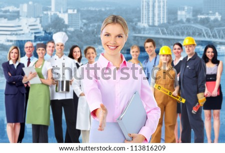 Business woman and a Group of industrial workers. - stock photo