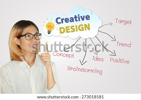 Business woman and business creative design concept. - stock photo