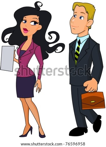 business woman and business man - stock photo