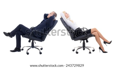 business woman and business man sitting on office chairs isolated on white background - stock photo