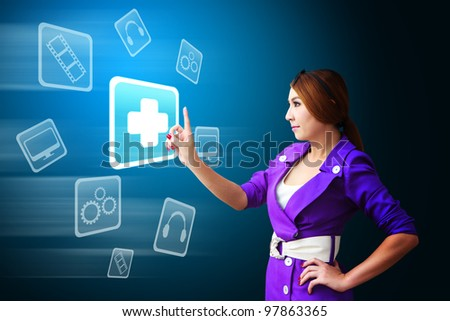 Business woman and First Aid icon from mobile phone - stock photo