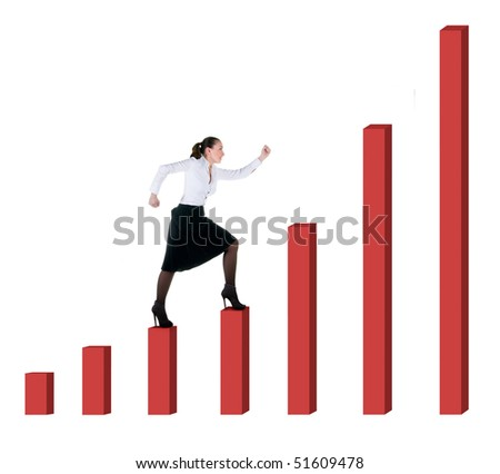 Business woman and graph progress over white background