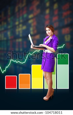 Business woman and graph report - stock photo