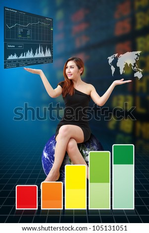 Business woman and graph report : Elements of this image furnished by NASA - stock photo