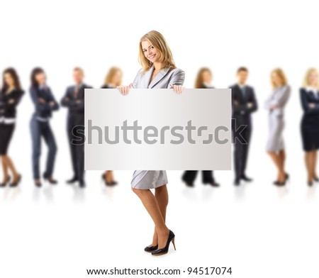 Business woman and group holding a banner ad, full length portrait isolated on white background. - stock photo