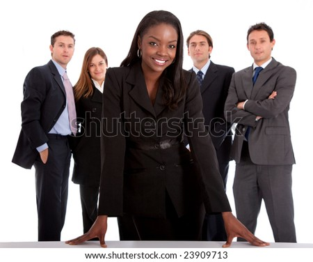 business woman and her team isolated over a white background - stock photo