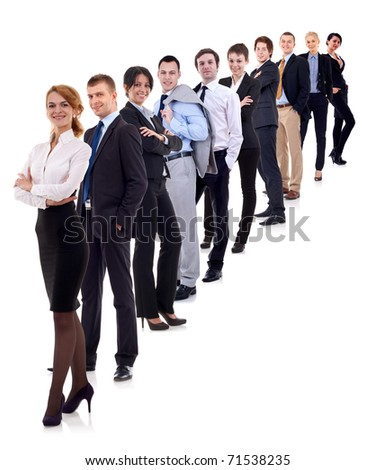 business woman and her team isolated over a white background