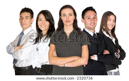 business woman and her team of business people over a white background - stock photo