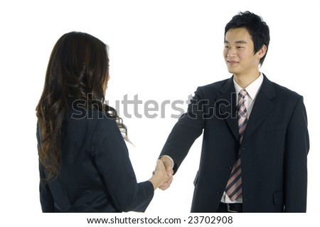 business woman and man shaking hands on white