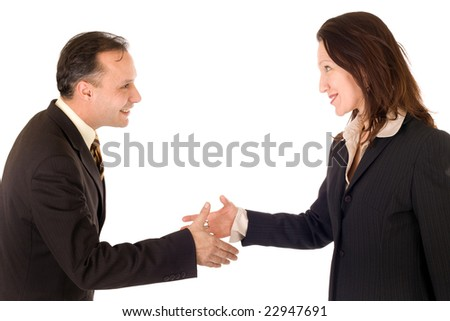 business woman and man shaking hands on white background