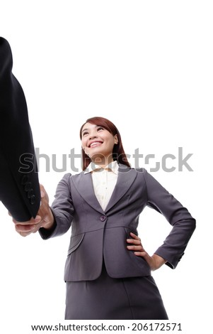 Business woman and man smiling and doing a handshake isolated on white background, asian - stock photo