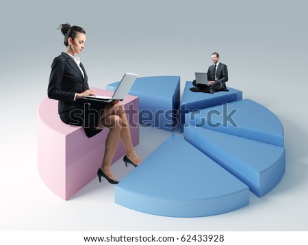 business woman and man using laptop on 3d pie chart - stock photo