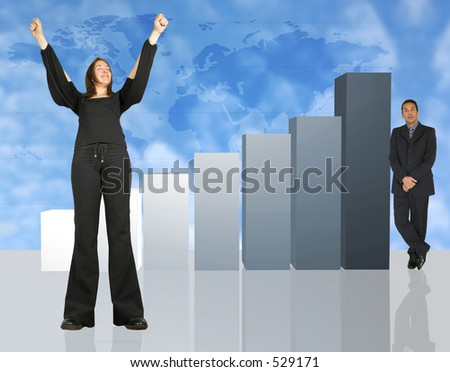 business woman and man with column chart - stock photo