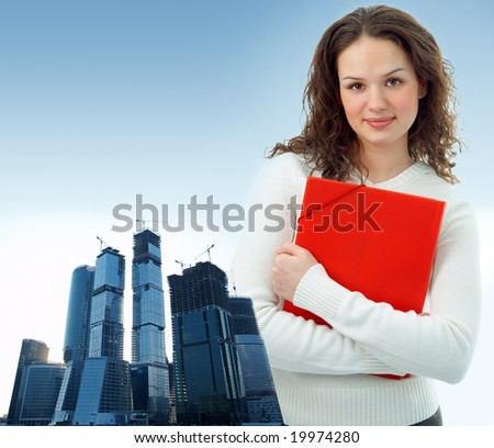 business woman and modern glass buildings project