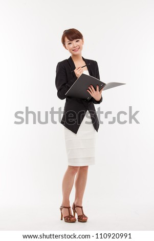 Business woman and note book isolated on white background.