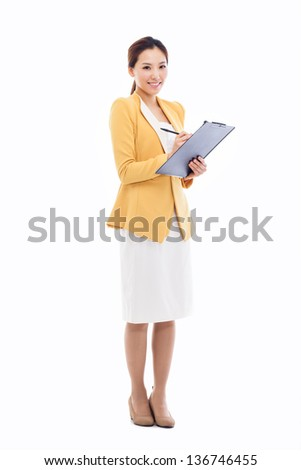Business woman and note book isolated on white background. - stock photo
