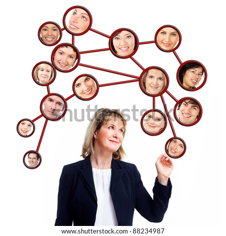 Business woman and virtual community. Group of people. Isolated on white background. - stock photo