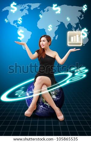 Business woman and world map : Elements of this image furnished by NASA - stock photo