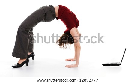 business woman arching her back on white - stock photo