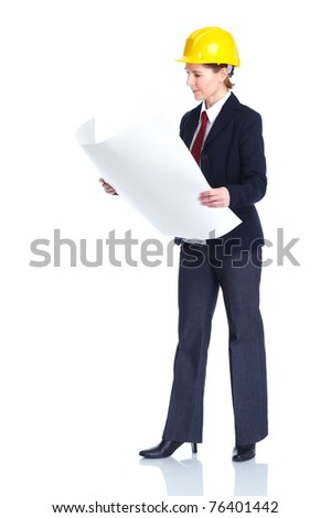 Business woman architect. Isolated over white background