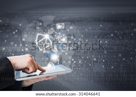 Business woman are sending email marketing by digital tablet - stock photo