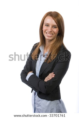 Business woman arms isolated on white - stock photo