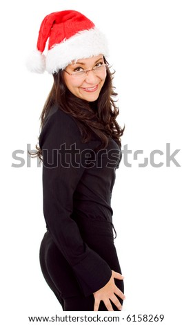 business woman as female santa portrait smiling with glasses isolated over a white background - stock photo