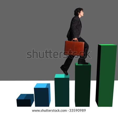 business woman ascending a  graph - stock photo