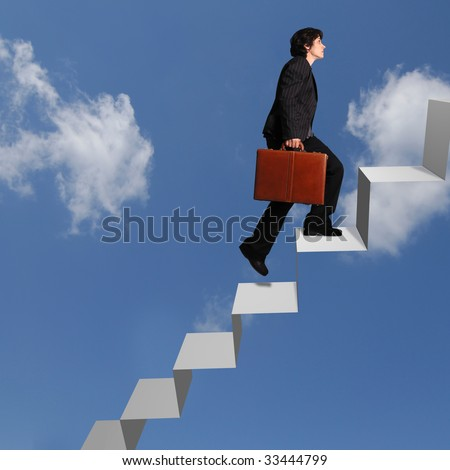 business woman ascending steps against a clouds background