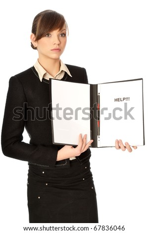 Business woman asking for help from her partners and shareholders - stock photo