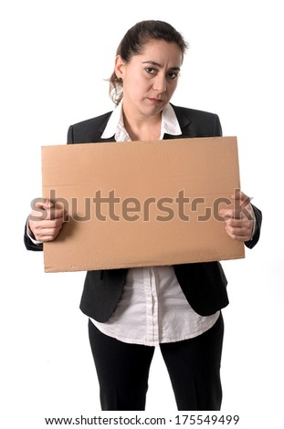 Business woman asking for help with cardboard box on his head isolated on white background - stock photo