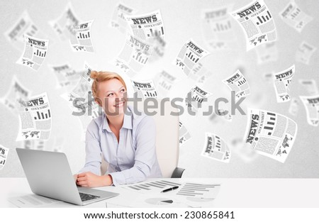 Business woman at desk with stock market newspapers concept - stock photo