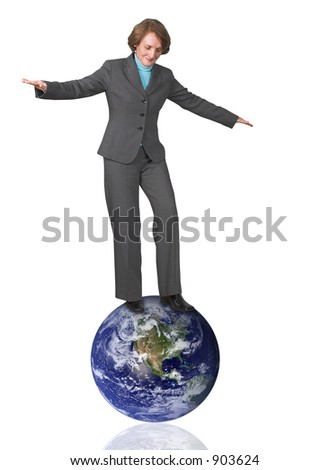 business woman balancing 45 degree angle over the earth