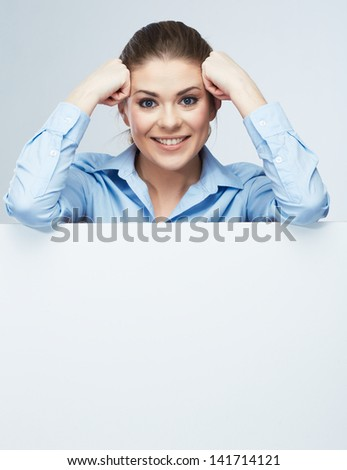 Business woman blank white banner, card isolated studio portrait. Female model poses.
