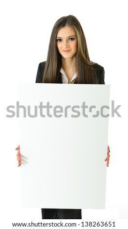 Business Woman Blank White Board - stock photo