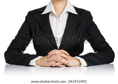 Business woman body with hand clasped on table isolated on white background. - stock photo