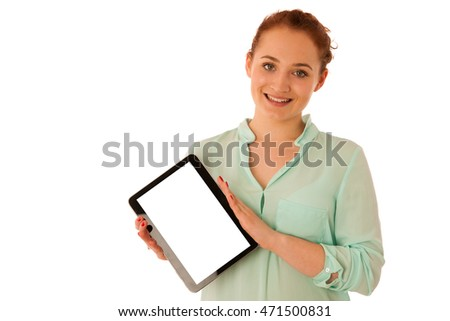 Business woman brousing the web on a tablet isolated over white background.
