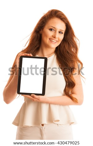 Business woman browsing the web on a tablet isolated over white background.