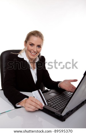 business woman buying on-line - stock photo