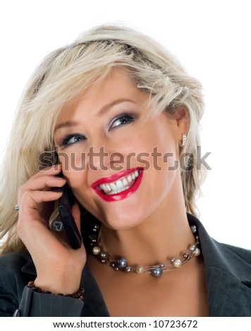 business woman  calling on  white