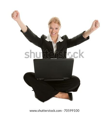 Business woman celebrating success - stock photo