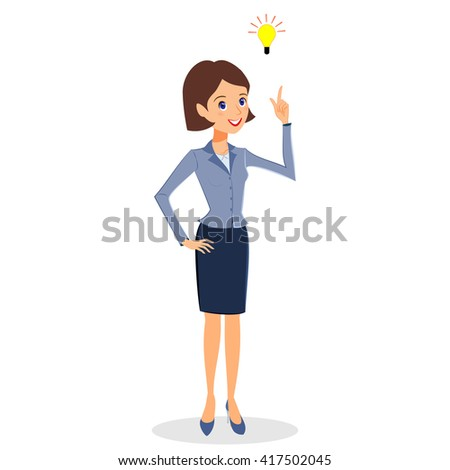 Business woman character . Cheerful smiling business woman character with light bulb. Problem solving, idea and creativity concept. Woman business character isolated on white background - stock photo