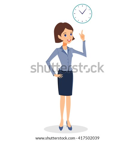 Business woman character . Cheerful smiling cartoon female character with clock. Time management, business planning concept. Isolated on white background - stock photo