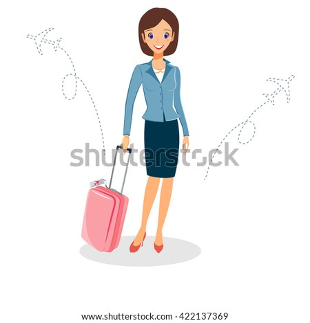 Business woman character . Cheerful smiling  cartoon female character with luggage travelling by plane. Isolated on white background - stock photo
